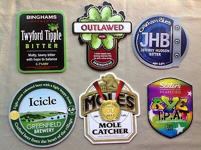 6 Beer Pump Clips Twyford Tipple Icicle Outlawed Jhb Mole Caatcher Slaters Ipa
