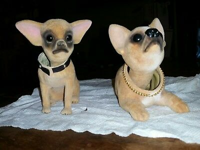 Pair Of Vintage Flocked Chihuahua Bobble Heads-Sitting And Laying