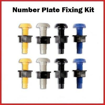 Plastic Number Plate Screws Nuts Bolts Fixings Fittings Fixers x8