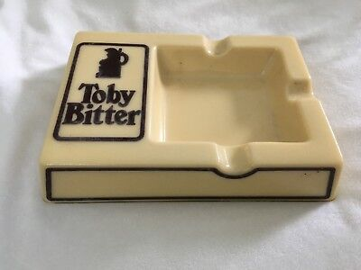 RARE VINTAGE Toby Bitter CHUNKY GLASS Ashtray ~ BEER ADVERTISING