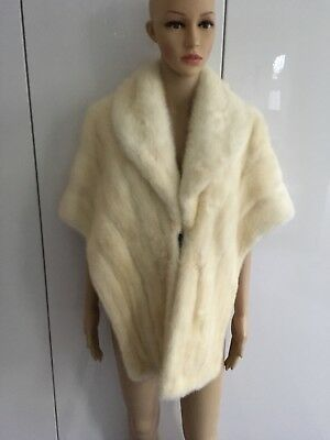 1950'S / 60'S Immaculate Special White Mink Stole Wrap Winter Bride Sz 10-14