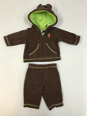 Carter's Unisex Baby Newborn 2 Piece Brown Hooded Tracksuit w Ears