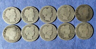 Barber Quarters: (10) Coin Lot - Includes 1895-O, 1892 & 1895