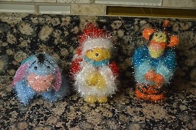 Disney store Winnie the pooh Eeyore and Tigger fuzzy Christmas ornaments set of
