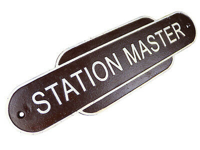 Brown Station Master Train Plaque - Cast Iron Sign