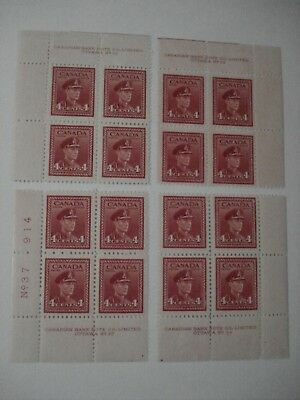 CANADA STAMP 4 x PLATE BLOCK OF 4 STAMPS 4 CENTS KING GEORGE VI MINT NH-F 1943