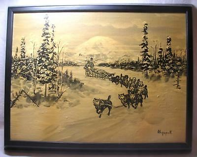 Alaska Dog Sled on River George Twok Aden Ahgupuk Original Art Work 1911-2001