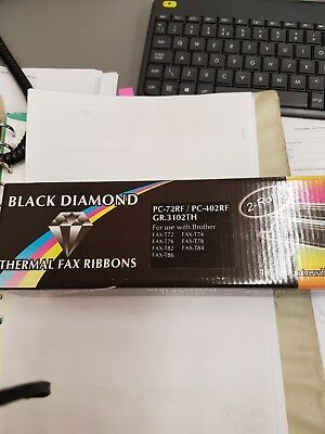 Black Diamond Thermal Fax Ribbons for Brother PC-302RF G.R 3050TH 2 Rolls E2G