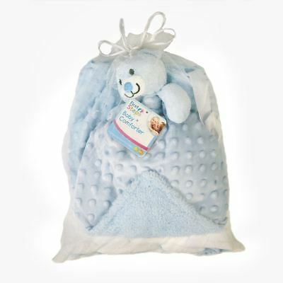 Baby Gift Set First Steps Mink Bubble Reversible Blanket and Comforter Blue 0m+