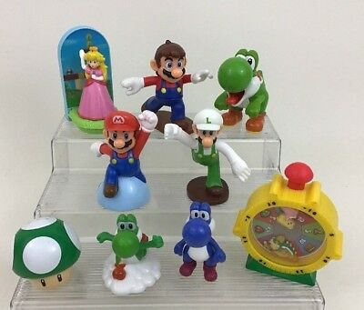 Nintendo Super Mario Brothers 9 Pc Toy Lot Yoshi Peach Toy Figures McDonalds A5