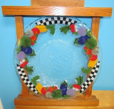 Peggy Karr Fused Art Glass Check Checkerboard Vegetables Charger Platter Plate