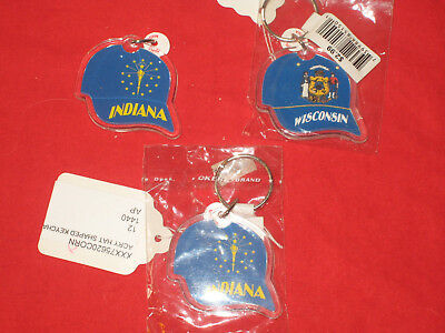 Indiana Wisconsin Baseball Hat Keychains - Lot of 3
