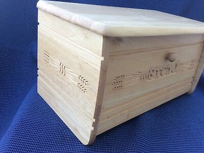 T&G Woodware Heritage Bread Bin With Drop Front Hand Carved