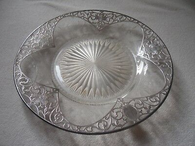 antique crystal cut glass tray with sterling silver overlay