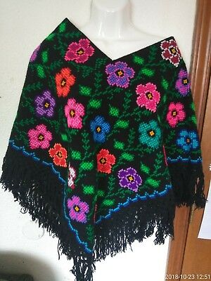 MEXICAN REBOZO CHIAPA/OAXACA Chalina Embroidered Quesqueme/chal