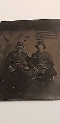 Original Rare Antique Civil War Era Uniformed Police Officer Tin Type Photo Flag