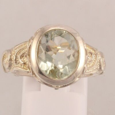 New Victorian Style Sterling Silver Light Grey Stone Ring Size 6