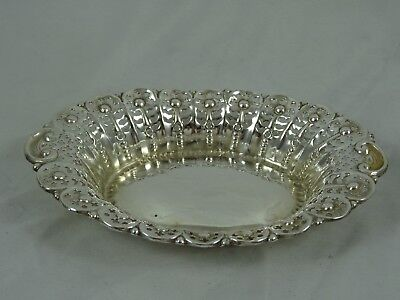 PRETTY VICTORIAN solid silver NUT DISH, 1897, 31gm