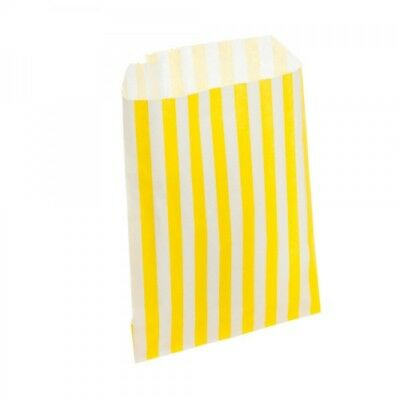 """50 New Yellow Candy Stripe Paper Party Sweet Bags 5"""" x 7"""""""