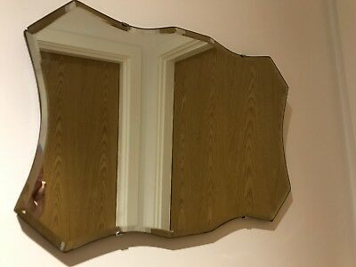 Sweet Vintage Art Deco Shaped & Beveled Edge Frameless Wall Mirror Antique