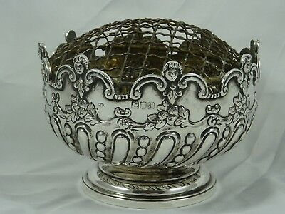 PRETTY solid silver VICTORIAN , ROSE BOWL, 1899, 217gm
