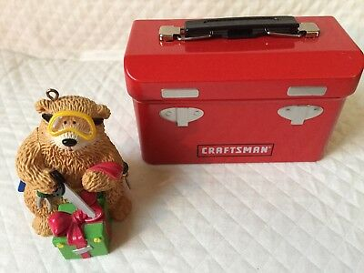 Ornament- Bear with tool belt  +  miniature craftsman tin  tool chest