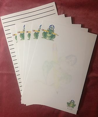 Cute Pencil Fun Frog letter writing paper stationery set with matching envelopes