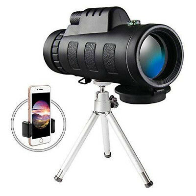 High Power Monocular Telescope Scope with Phone Clip and Tripod for Adults Cell