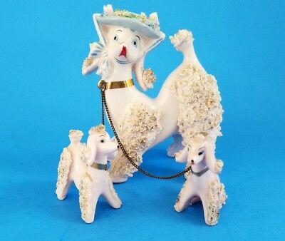 Vintage Pink Spaghetti Poodle Mom With Two Puppies On Chain  Japan