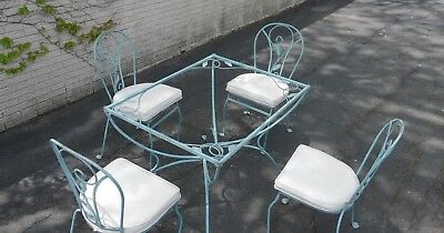 Vtg Sgnd Salterini 5 pc  Patio Set. Super color Dining Chair Table Wrought Iron