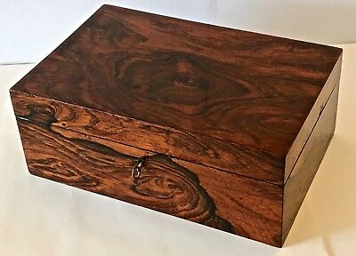 Antique Rosewood Victorian Jewelry/stationery Box - Figural Grain-Good Condition