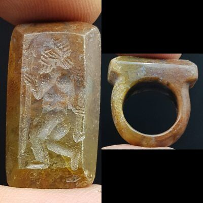 Roman Beautiful Old King seal intaglio Natural stone Old Ring    # 6L