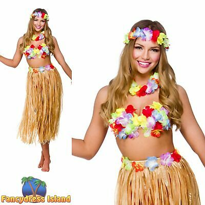 Fancy Dress Skirt Handbag Lei Crown Cuff Ladeies Tropical Hawaiian Maui Girl