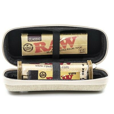 RAW CONE WALLET ZIPPER CASE + 1 1/4 Classic Papers + Rolling Machine + Tips
