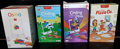 Osmo Genius Base Kit, Coding with Awbie, Coding Make Music and Jam, Pizza Co lot