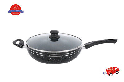 28 & 32 cm Black Non Stick Wok With Glass Lid For Induction Hob Deep Frying Pan