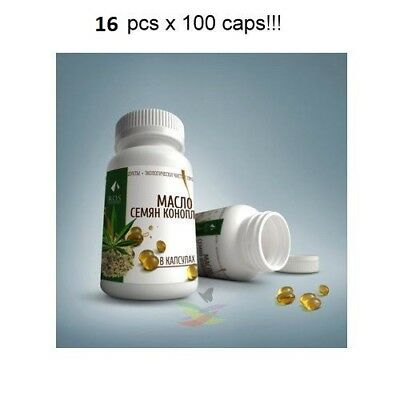 16 pcs x100caps Hemp Seed Oil 100% in Capsules Natural Extra Virgin Hempseed Oil