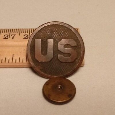vintage US WWI World War One Era Brass Disk Device Screw back pin pc of history