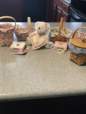 Lot Of 5 Cancer Society Longaberger Basket Combos Liners & Tie On & Bear