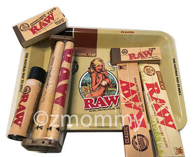 Raw Rolling Bundle Tray+ King Size Classic & Hemp Papers +Tips +Machine +Lighter