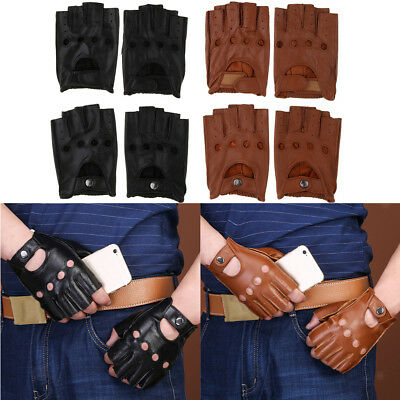 Retro PU Leather Half Finger Fingerless Driving Cycling Gloves Short Gloves