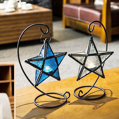 Moroccan Colorful Mosaic Glass Hanging Star Lantern Candle Holder Candelabra