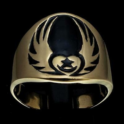 Bronze Mens Celtic Claddagh Costume Ring Heart With Star And Wings Black Size 12