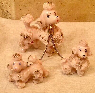 Vintage Lefton Pink Ceramic Spaghetti Poodle and Pups