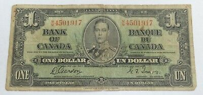 1937 Bank of Canada $1 One  Dollar Bill Note M/M 4501917