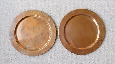 """Vintage Pair (2) of 11"""" Solid Copper Charger Plates Rolled Rims"""