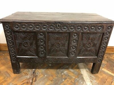 Early 18th Century Heavily Carved Welsh Oak Coffer - Delivery Available