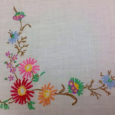 Colourful Vintage Hand Embroidered Linen Table Cloth