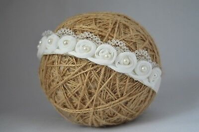 Baby hair band, off white lace pearl tiara for christening baptism Handmade UK
