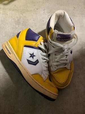 f11f234e2e61 Vtg 80s Og Converse Magic Lakers Weapon Purple Gold Sneakers Men s 9 High  Top